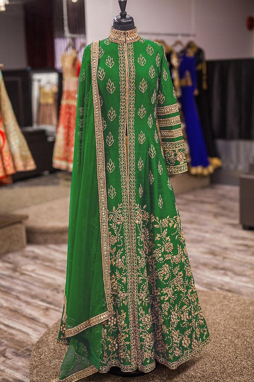 Green Gown Kurti (Gold Zari Work ) with Green Duppata. (Semi Stitched)