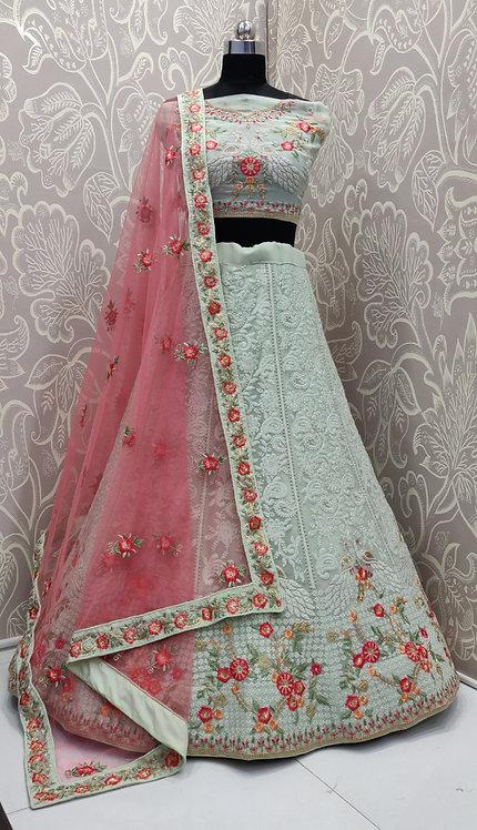 Pale Grey Lehenga (Floral Zari Design) with Pink Net Duppata.