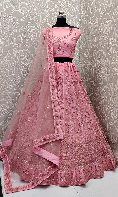 Light Pink Lehenga (Floral Zari Work ) with PinkDuppata ( Semi Stitched)