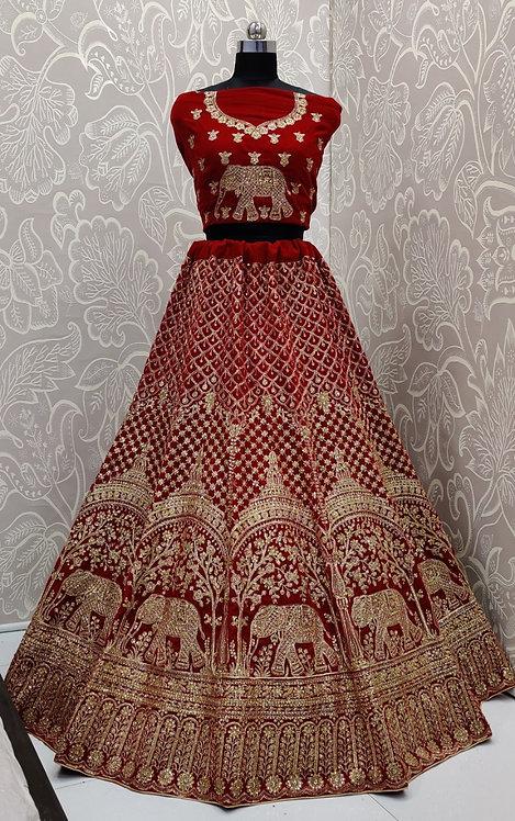 Red Bridal Lehenga (Elephant Zari Design) with NetDuppata.
