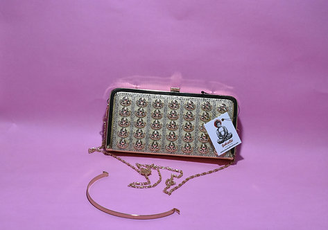 Golden Party/ Bridal Clutch with Golden Sling and handle. (Pearl Design)