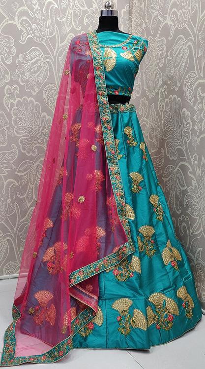 Sky Blue Lehenga (Lily Zari Design) with Pink Net Duppata.