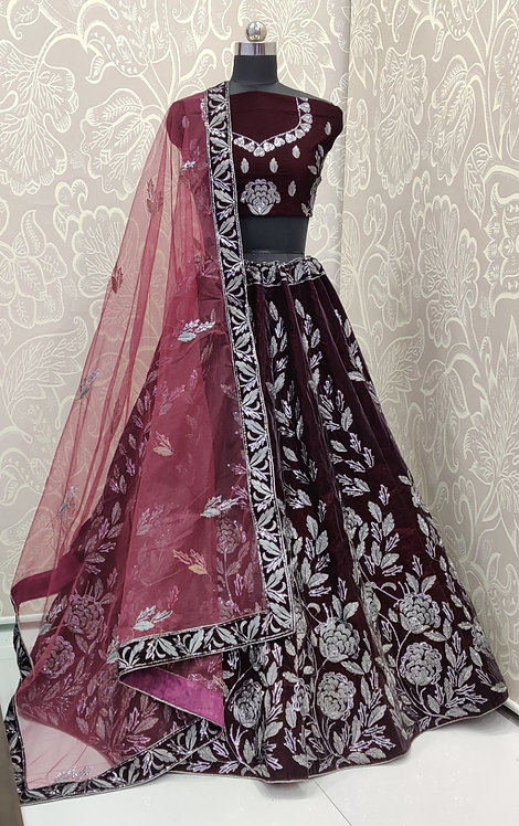 Dark Brown Lehenga (Floral Zari Design) with Maroon Net Duppata.