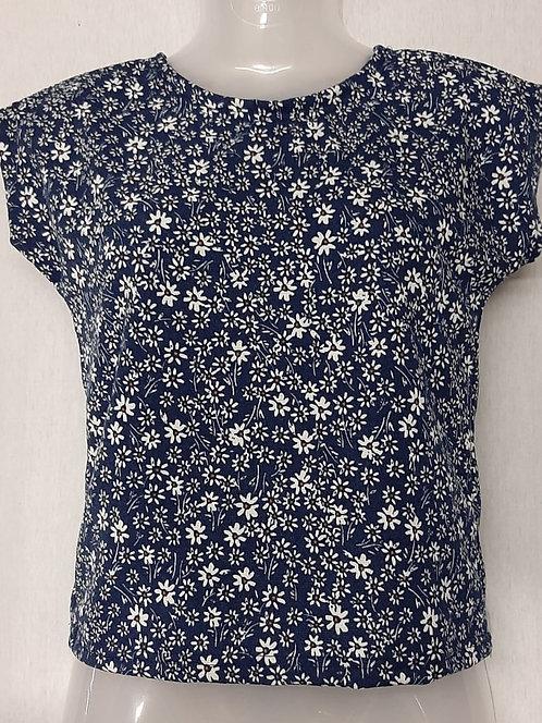 Black Floral Design Womens Tshirt
