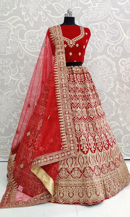 Red bridal lehenga (Earring Design) With Net Duppatta.