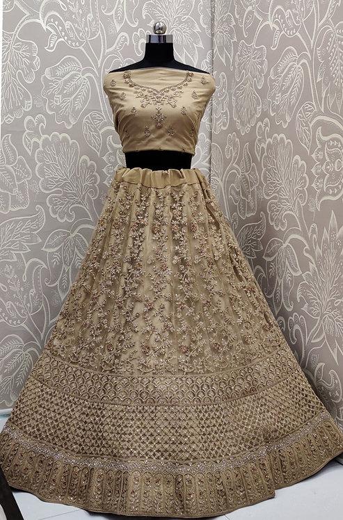Light Golden Lehenga (Floral Zari Work ) with NetDuppata. (Semi Stitched)