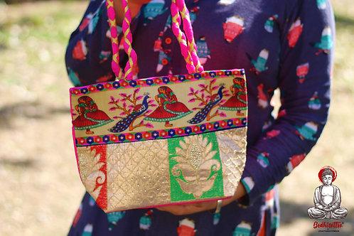 Pink Handmade Cotton Handbag (Peacock Design).