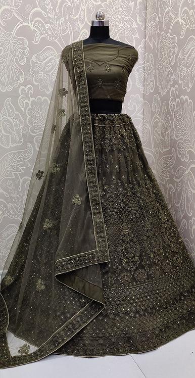 Dark Grey (Jewelry Zari Design ) with Net Duppata.(Semi Stitched)