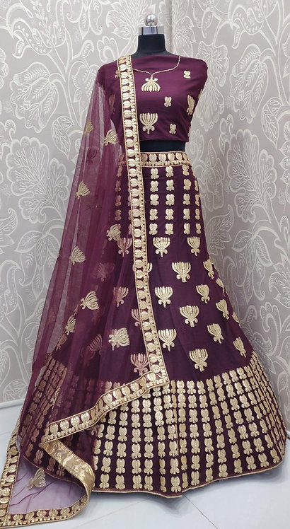 Dark Purple Lehenga (Lotus Zari Design) with Net Duppata.