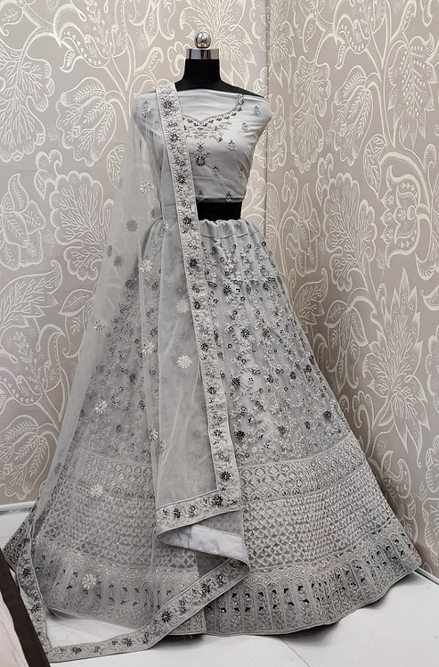 Light Grey Lehenga (Floral Zari Design) with Net Duppata.