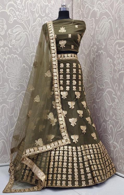 Dark Grey Greenish Lehenga (Lily Zari Design) with Net Duppata.