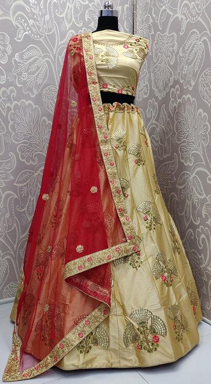 Light Golden Lehenga (Lily Zari Design) with Red Net Duppata.