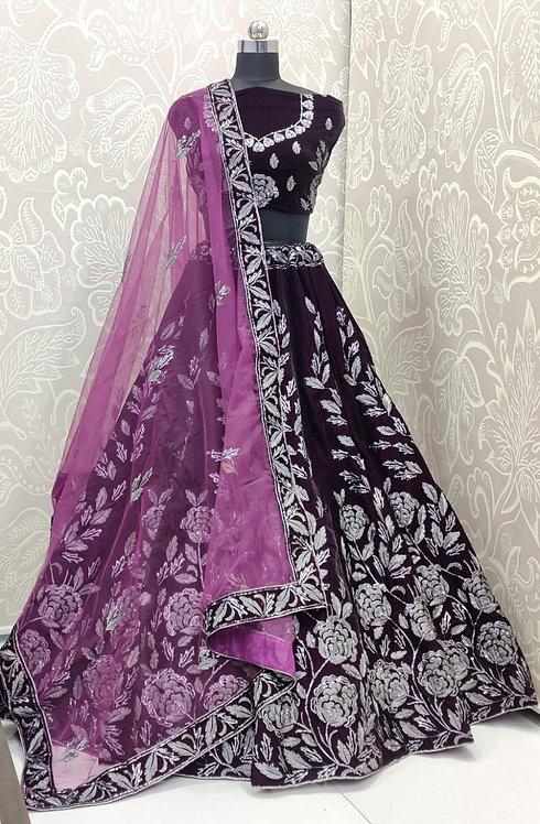 Dark Brown Lehenga (Silver Floral Zari) with pink Duppata. (Semi Stitched)
