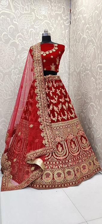 Red Bridal Lehenga (Gold Zari Work ) with Red Net Duppata . (Semi Stitched) St