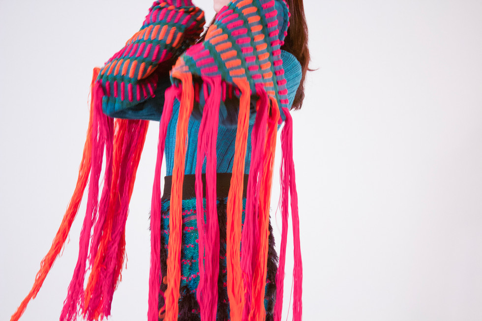 I have photographed this work to showcase the knitwear designs by fashion design graduate Alice Bracken.
