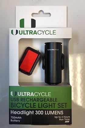 Ultra cycle light set 300 lumens