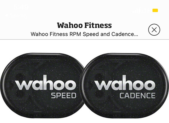 Wahoo fitness Speed and cadence sensor Bluetooth