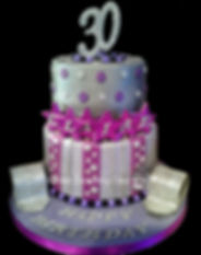 silver & purple themed 30th birthday cake