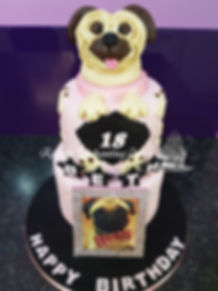 Dog Pug Themed Birthday Cake by Rachels Enchanting Cakes Sheffield