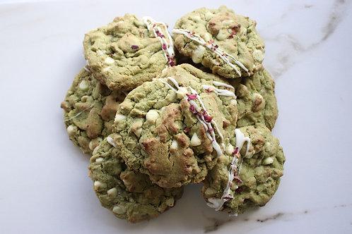 *GF Vegan Matcha Rose White Chocolate Cookies