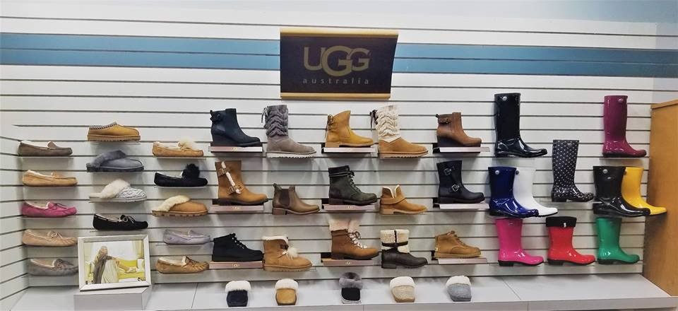 Shoes and boots on a display