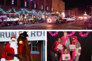 Collage of a parade, Santa, and 3 women gathered for a picture.