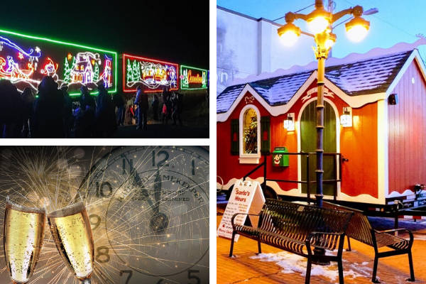 Collage of a holiday train, santa house, and a generic New Year's Eve poster