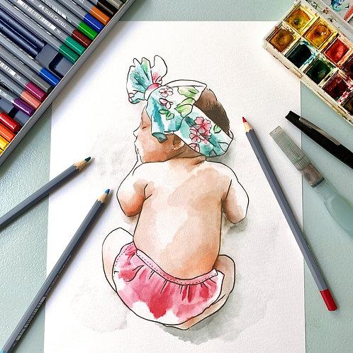 Aquarelle personnalisée, peinte à la main d'après votre photo