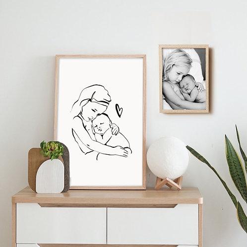 Illustration personnalisée d'après votre photo effet encre de chine