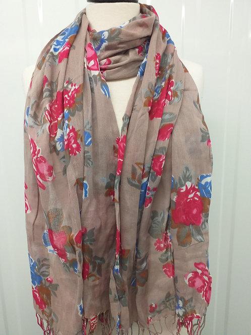 Brown floral scarf