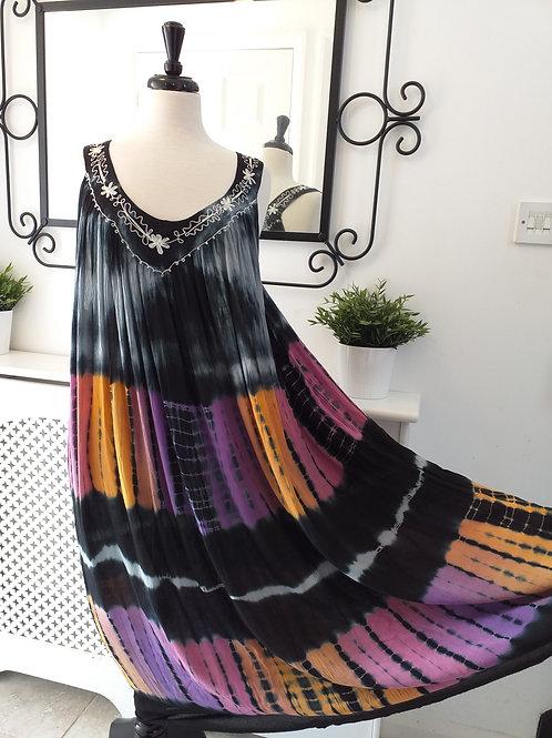 Tye dye Black Dress fits UK 12-24