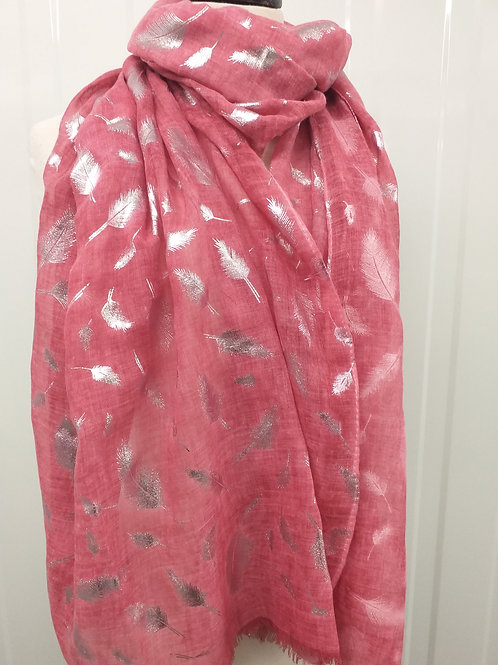 Tie Dye Pink Foil Feathers Scarf