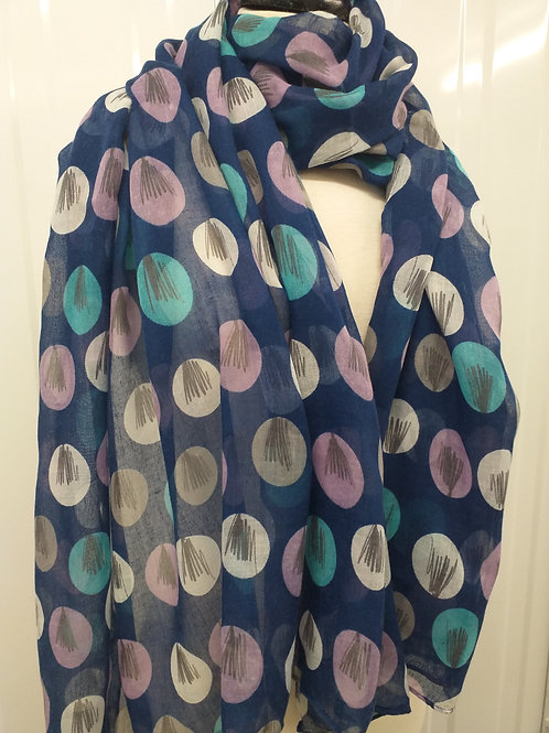 Navy sketch tree scarf