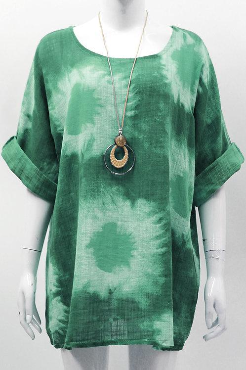 Green ladies splash linen printed top Fits 12-16