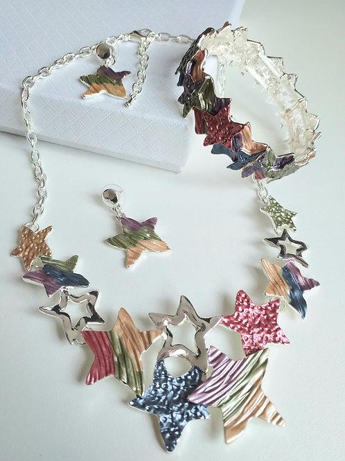 Stars Multicoloured Necklace, Earrings Bracelet Set