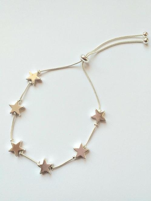 Silver Stars drawstring bracelet