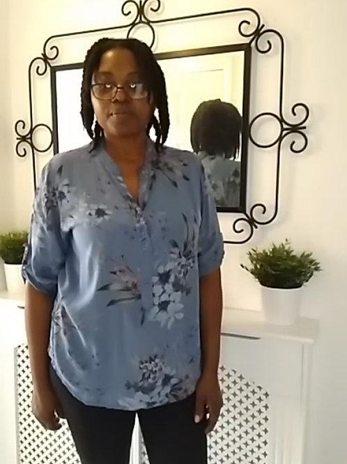 Dark Blue Floral Shirt Fits UK 10-16