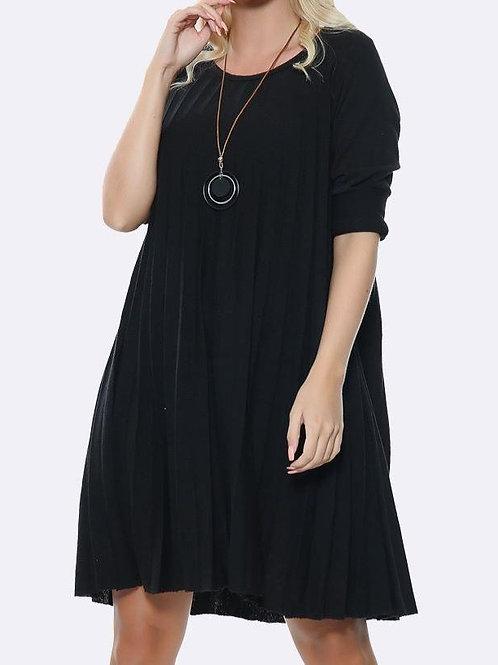 Pleated Plain Black Dress