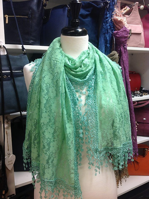 Vintage Green Lace Scarf