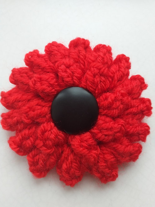 Red Handmade floral brooch