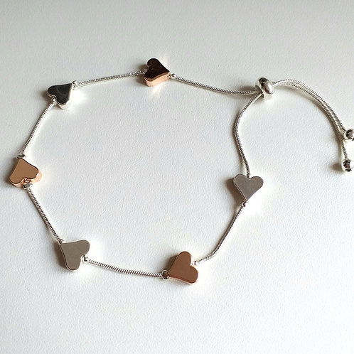 Solid Space Silver Rose Hearts draw string bracelet