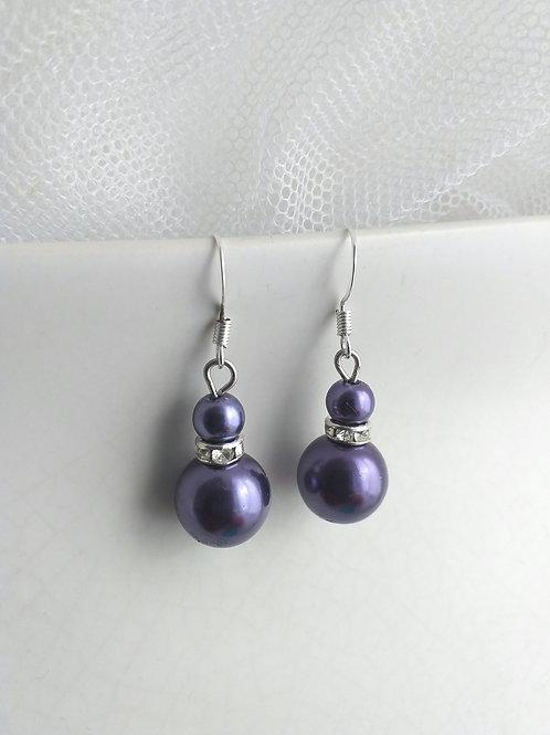 Purple Double Pearl Earrings
