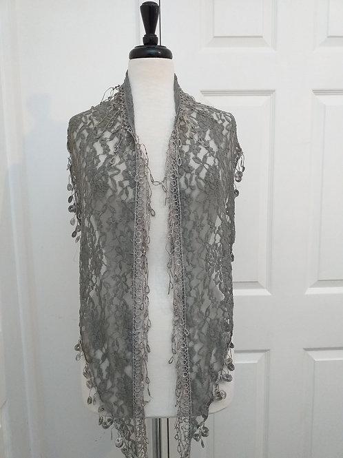 Silver Grey Lace Scarf