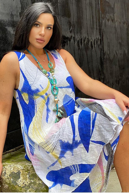 Sky Blue Abstract Dress Fits UK 12-18