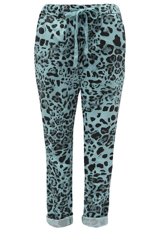 Leopard Print Teal Magic trousers Fits Uk 12-18