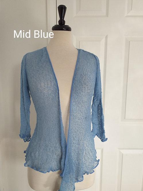 Mid Blue Shrug Bolero Fits UK SIZES 8 10 12 14 16 18