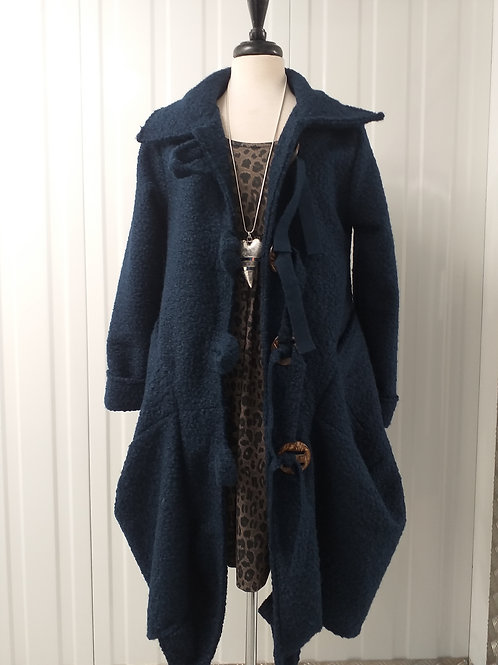 Navy Bohemian Quirky Coat Fits UK 14 16 18