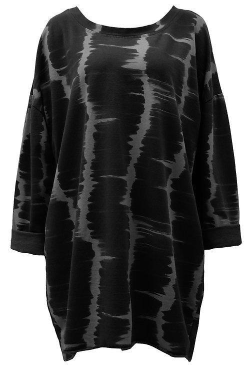 Janice Black Tie-dye tunic top
