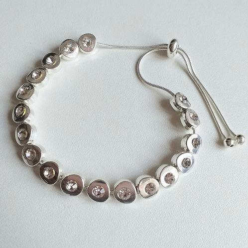 Silver Round draw string bracelet