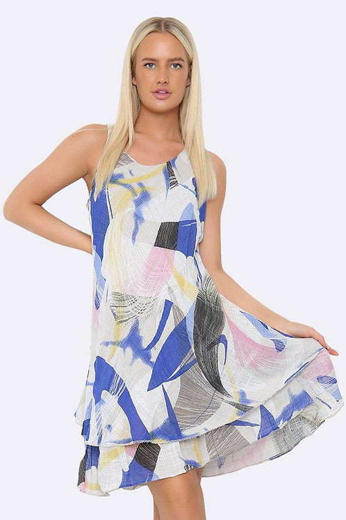 White Abstract Dress Fits UK 12-18
